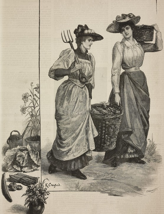 Market gardeners with basket of vegetables
