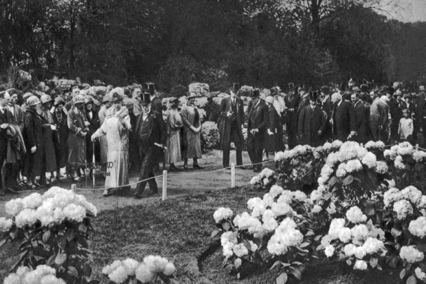 King George V and Queen Mary pay a visit to the annual spring flower show at Chelsea, London, 1926-1927.