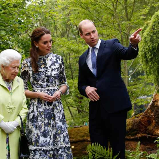 2019: Queen Elizabeth and William, the Duke of Cambridge are given a tour by Catherine, the Duchess of Cambridge, of her RHS Back to Nature Garden, which she designed with landscape architects Andree Davies and Adam White of Davies White Landscape Architects at the RHS Chelsea Flower Show