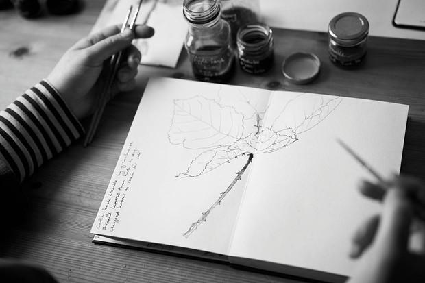 Artist Alice Fox sketching