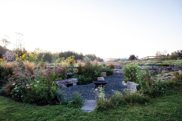 Caleb Davis' landscaped garden in Maine