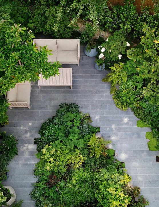 By placing the furniture at the rear of the space, Stefano gave his clients a new perspective on the garden. A large Cornus kousa var. chinensis behind the sofa provides privacy and a sense of enclosure, complemented by the branches of an overhanging magnolia.