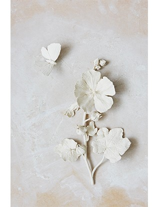 Most of Kaori's work is designed to be wall-hung and so she makes her sculptures, such as this hollyhock, in pieces, assembling them on installation.
