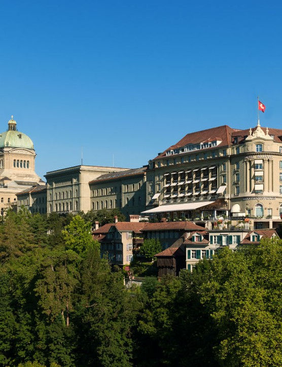 Belvue Palace, Bern. This elegant hotel is in the very heart of Switzerland's capital, next to the Swiss parliament. Its bars and Gault Millau-accredited restaurant are popular meeting places for politicians and journalists. It's also where visiting heads of state stay when in town.