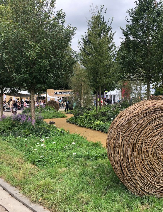The show gardens were as impressive as ever. The RHS Queens's Green Canopy Garden is this year's largest, with more than 3500 plants and 21 native trees.