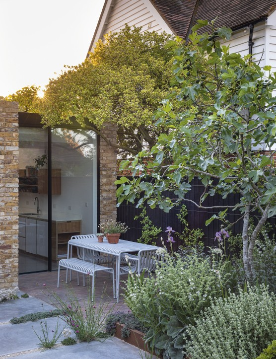 Tucked away on one side of the terrace outside the kitchen, the dining area is screened by a fig tree underplanted with trouble-free Mediterranean species, including woolly thyme, Salvia argentea, Ballota pseudodictamnus and pale-lavender irises.