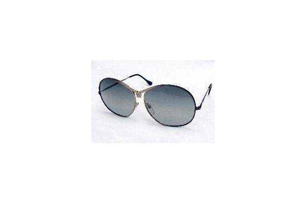 A pair of black polaroid sunglasses