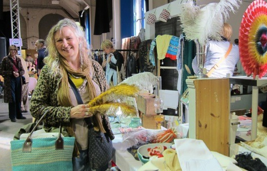 Helen Langford buying ostrich feathers