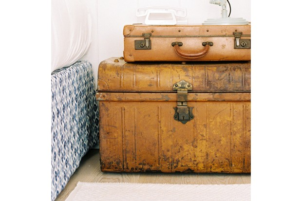 An image of stacked-up antique trunks at the Trevose Harbour House in St Ives, Cornwall