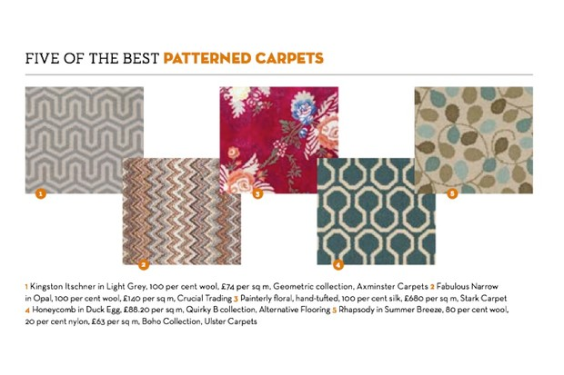 An image of five differently patterned carpets