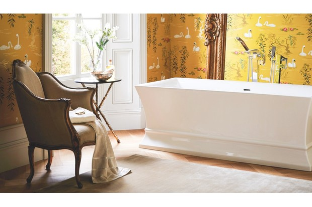 'Chesham Grand' ornate mirror (£1.495) teamed with 'Penrose' freestanding acryllic bath (from £1,600) both from Heritage bathrooms