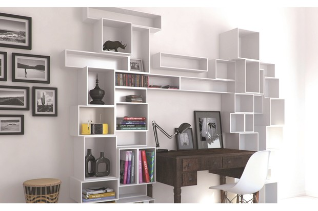 Easy Connect modular storage system by Cubit is made from lacquered or veneered MDF and can be easily moved or re-configured. This arrangement is approximately £1,300