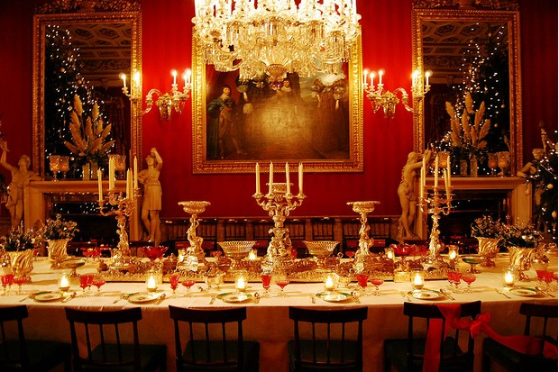 The Downton Abbey dining room prepared for a Christmas feast