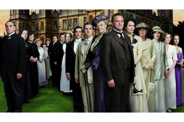 The cast of Downton Abbey outside of Highclere Castle