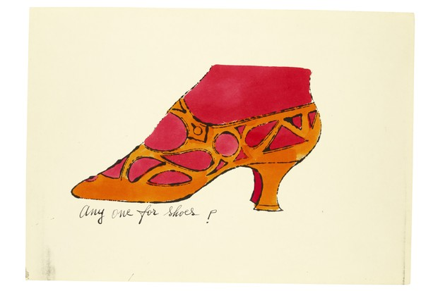 A sketch by Andy Warhol showing an orange heeled shoe
