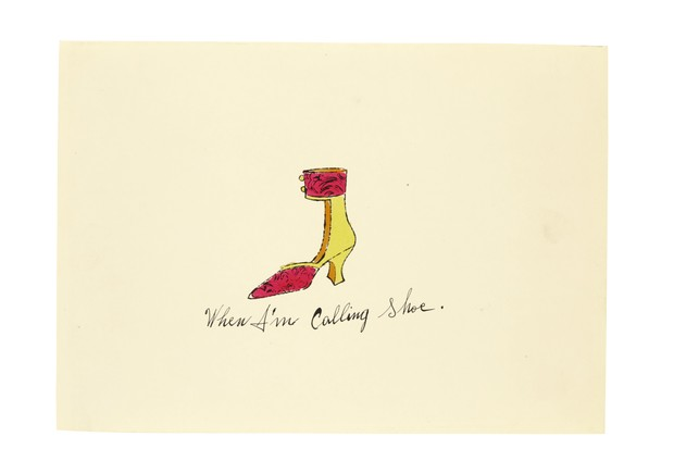 An illustration by Andy Warhol of a yellow heeled shoe with a pink cuff