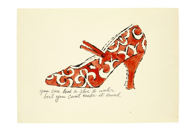A sketch by Andy Warhol showing an orange and white heeled shoe