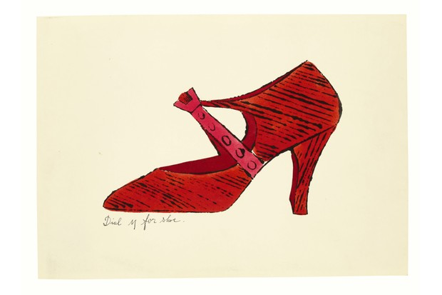 A sketch by Andy Warhol showing a red heeled shoe