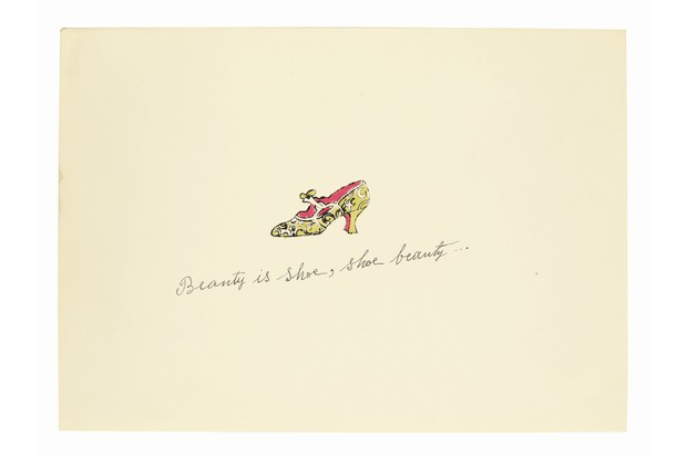 A small illustration by Andy Warhol showing a delicate yellow shoe with a pink lining