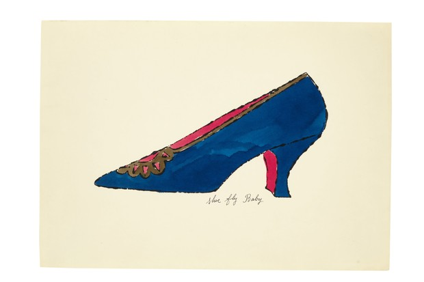 A small illustration by Andy Warhol showing a blue heeled court shoe with a pink lining and gold buckle