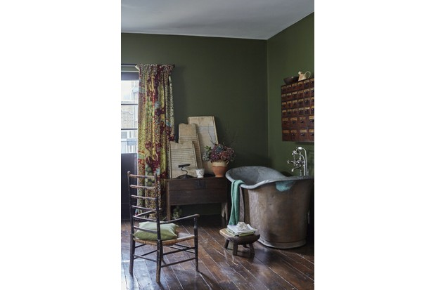 Antique copper bath, from £6,500, Stiffkey Bathrooms. Apothecary drawers, £4,800, Robert Young. English 17th-century boarded oak chest, £2,200; country stool in ash, £390, both Robert Hirschhorn. Curtain made in 'The Brook' fabric from 'Archive Prints lll' collection, £75 per m, Morris & Co