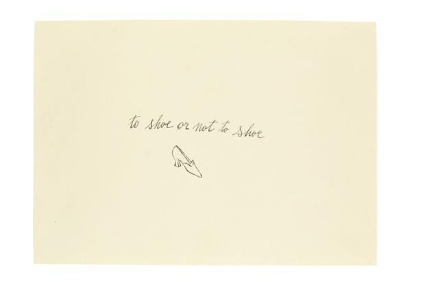An illustration by Andy Warhol of a small black and white shoe