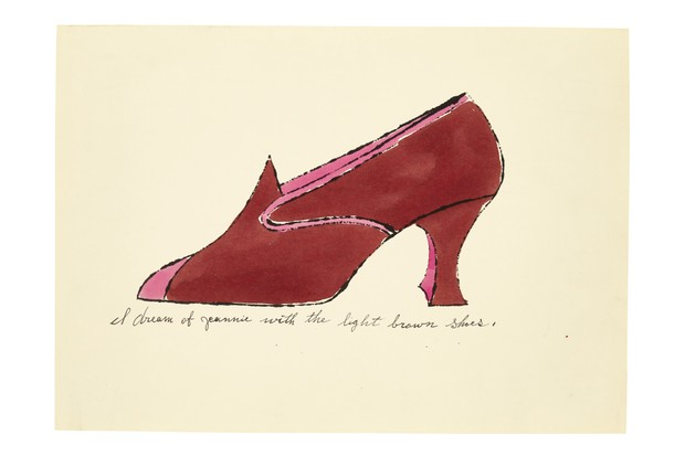 An illustration by Andy Warhol of a red heeled shoe