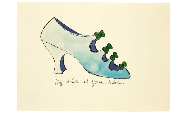 An illustration by Andy Warhol of a pale blue heeled shoe with little green bows