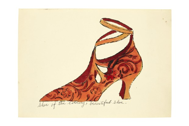 An illustration by Andy Warhol of an orange and red heeled shoe