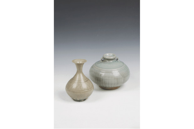 A set of two celadon vases