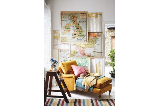 1950s maps of Europe, Great Britain, North America & Mexico, from £240 each, all Retro Maps. Sea charts, £5 each, David Bond. 'Bluebell' daybed in Sunshine pure velvet, £1,000, sofa.com.On daybed: Pink raw silk cushion, £51, Oka. Hat, £48, sunglasses, £48, both Anthropologie. 'Urban Collective' green throw, £129, Lexington. Yellow kantha blanket, £70, Scaramanga. Library steps, £90, Gear Antiques. On steps: Fan, £65, Junktion Antiques. Tumbler, £29, English Antique Glass. Fabric throw used as rug, £480, Oka. At door: artificial bamboo plant, £79; fern plant, £59; camellia bowl, £59, all Bloom. Outside: Tolix chair, £50, The French House