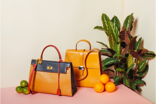1970s tricoloured vintage 'Kelly' handbag by Hermès (left) went for £1,800; tan leather handbag, Tiffany & Co (right), went for £180. All prices are results for Fellows' Designer Collection sale on 24th July 2016