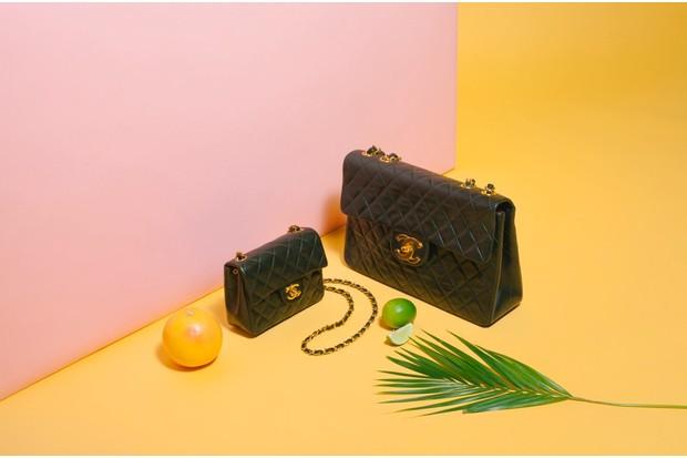Quilted Mini Classic 'Flap' handbag, £920 (left), Maxi Classic 'Flap' handbag, £1,700 (right), both Chanel