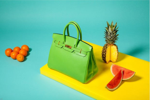 Apple green 'Swift Birkin 35' handbag, £7,600, Hermès