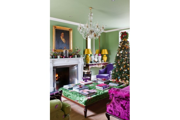 Drawing room decorated in Christmas colours