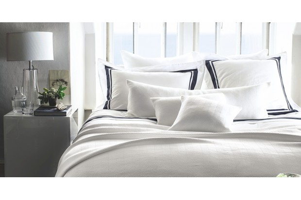'Brompton' Egyptian cotton sateen double duvet cover, £100; Oxford pillowcase, £26, all The White Company