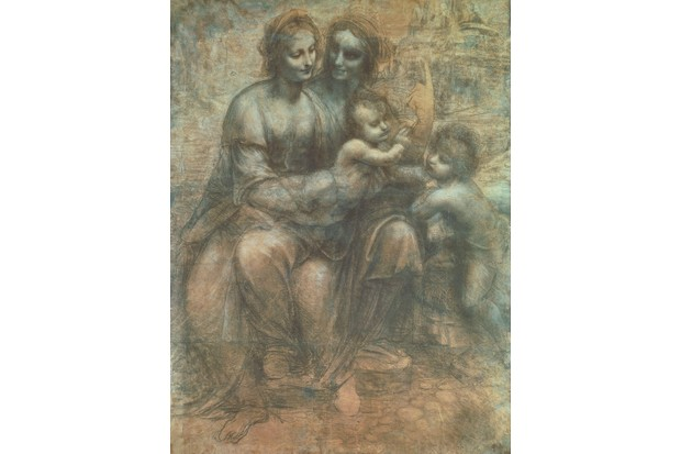 ITALY - CIRCA 2002: London, National Gallery The Virgin and Child with St Anne and St John the Baptist or Burlington House Cartoon, 1499-1500, by Leonardo da Vinci (1452-1519), drawing in black chalk, white lead and shade on paper, 141.5x104.6 cm. (Photo by DeAgostini/Getty Images)