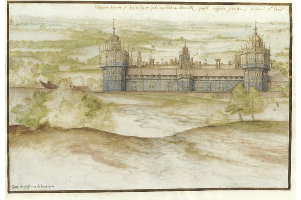 LOAN:PDP ANON.1-2013 Watercolour Nonsuch Palace; Watercolour, by Joris Hoefnagel, 1568 Joris Hoefnagel (1542-1601) London 01/01/1568-31/12/1568 Chalk, pen, ink and watercolour on paper