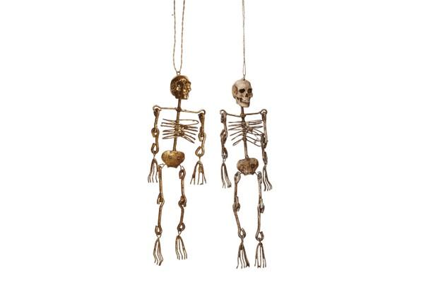 House of Hackney Gold Skeleton Set of 2 Hanging Decorations