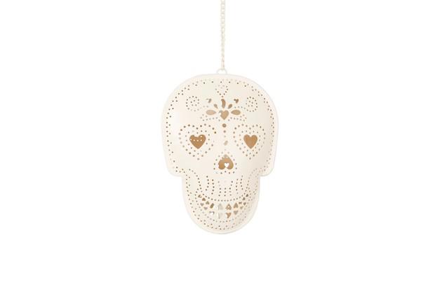 white Day of the dead skull tea light holder