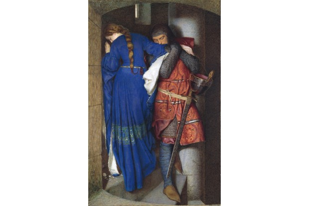 A painting of two people meeting on turret stairs