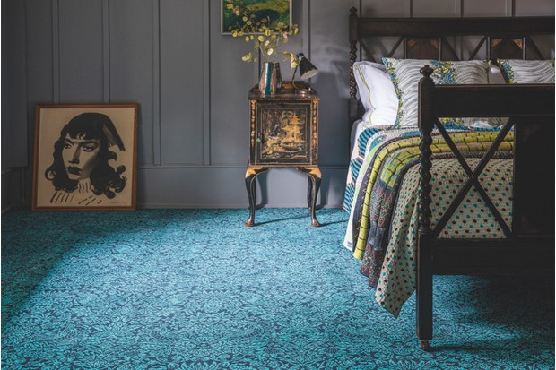 'Strawberry Meadow Peacock' carpet, 100 per cent wool, £149 per sq m, Quirky B Liberty Fabrics, Alternative Flooring