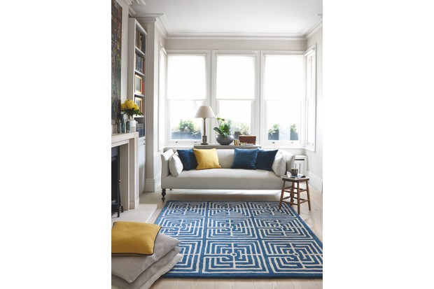 'Maze II' rug in 'Teal' in hand-tufted wool with bamboo silk, £405 per sq m, or in 100 per cent wool, £350 per sq m, Jennifer Manners