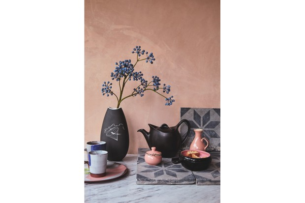 A flower pot and tea pot in front of a clay coloured wall