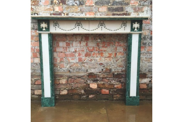 Reclaimed Regency Revival verde marble fire surround, £900, The Architectural Forum