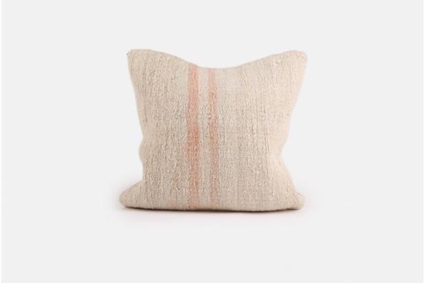 Small Cream & Pink Stripe Kilim Cushion