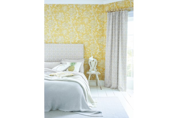 'Shalimar' wallpaper, £66 per roll; curtains and headboard in 'Baroque Trellis' linen mix fabric, £52 per m, both Art of the Garden collection, Sanderson