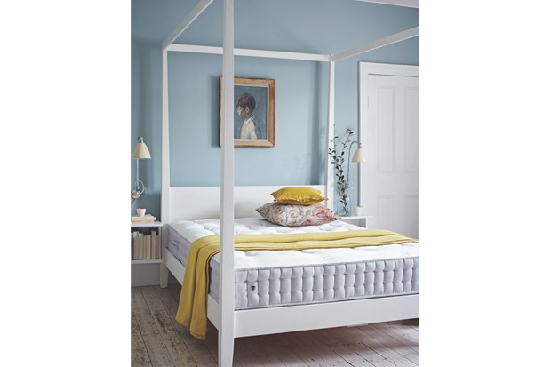 Herdysleep mattress, £999 for a king size. The 'Goa' four poster, £494.50 from Maisons du Monde is similar