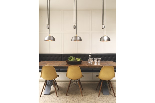 'Dome Rise & Fall' pendant light in 'Lacquered Steel', £279, Davey Lighting