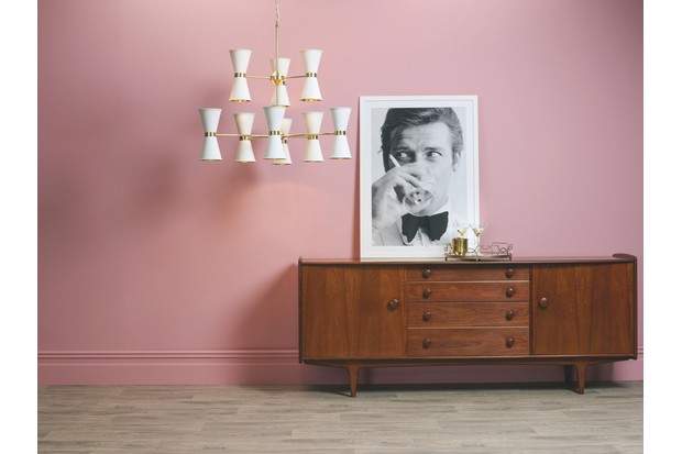'Hyde 18 Light' pendant in 'Brass' with 'Arctic White' metal shades, £1,710, David Hunt Lighting